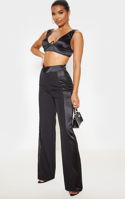 Black Woven Satin Contrast Straight Leg Trouser