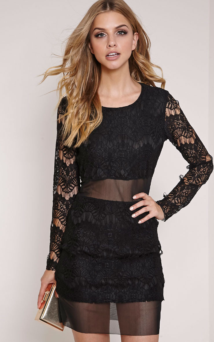 Talula Black Lace Long Sleeve Mini Dress 1