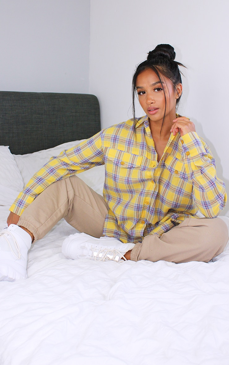 Petite Yellow Checked Oversized Shirt 1