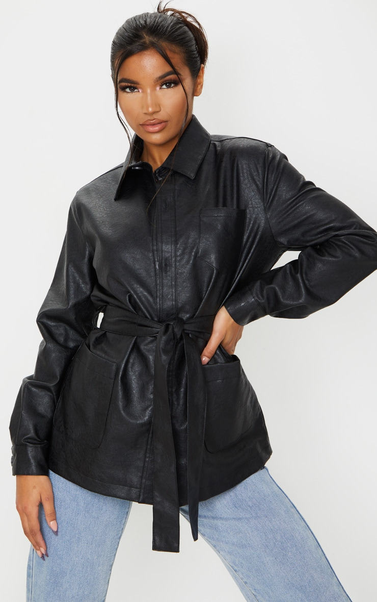Black PU Oversized Belted Jacket 1