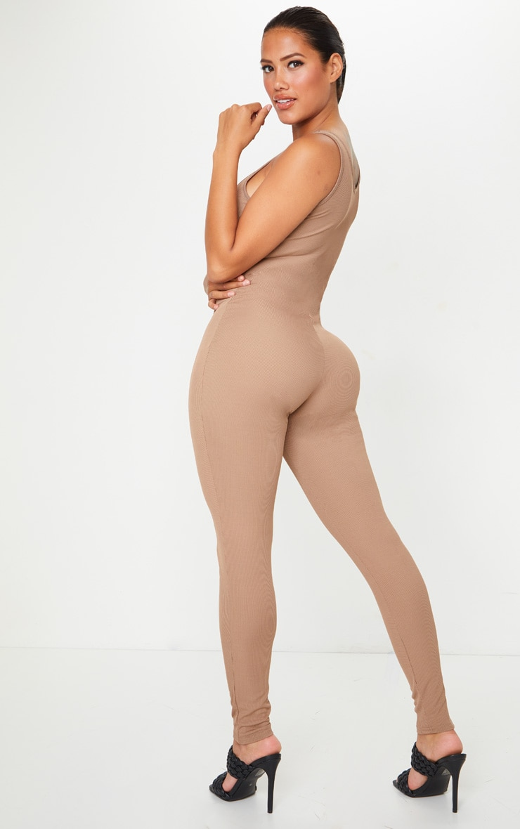 Shape Mocha Ribbed Scoop Neck Jumpsuit 2