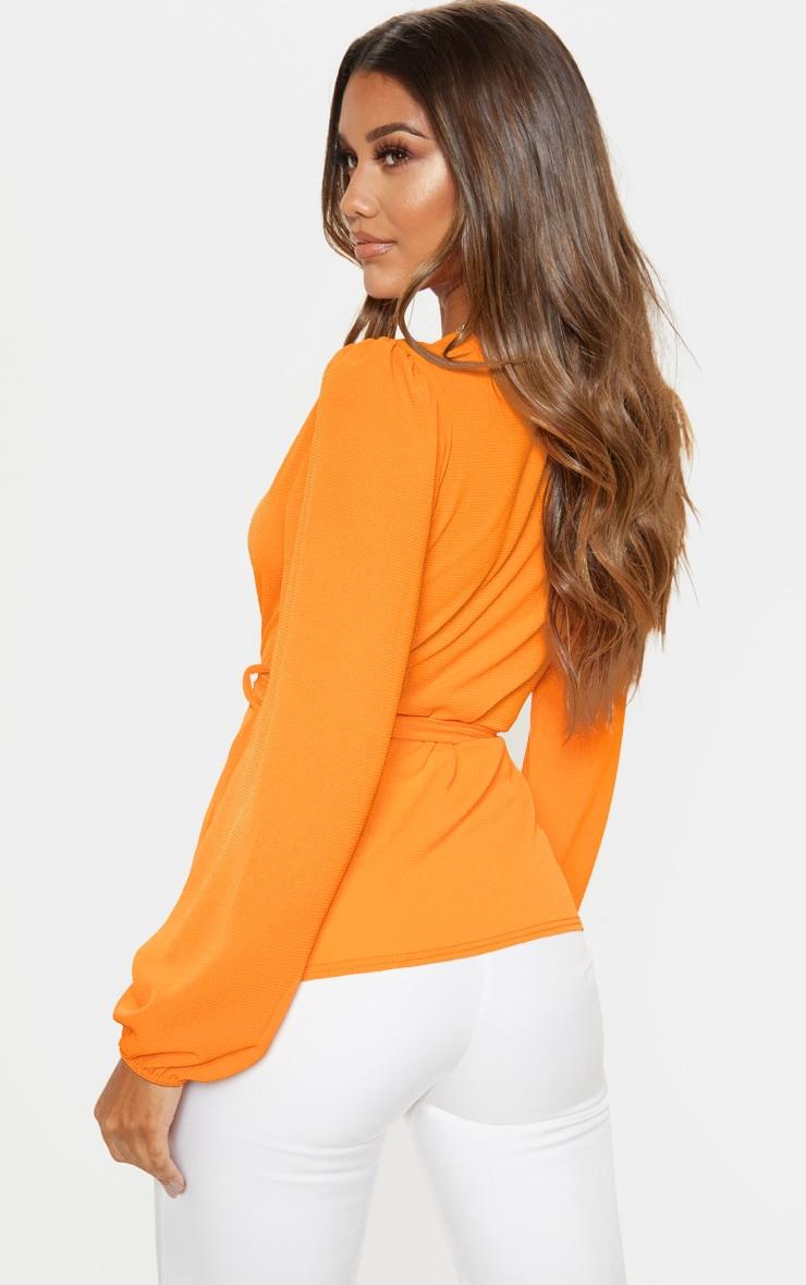 Orange Crepe Waist Belt Tie Long Sleeve Blouse 2
