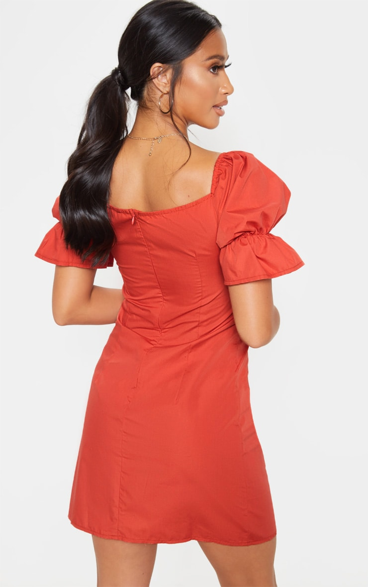 Petite Rust Cup Detail Ruched Shoulder Mini Dress  2