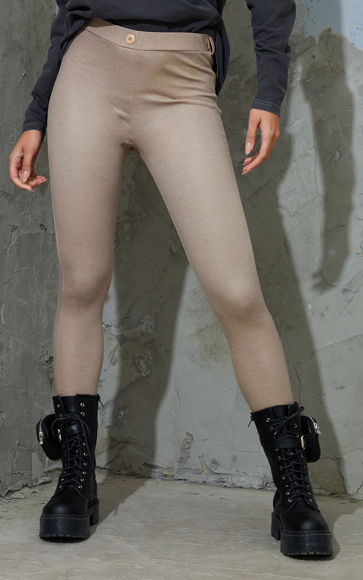 Taupe Stretch Button Detail Skinny Trousers 2