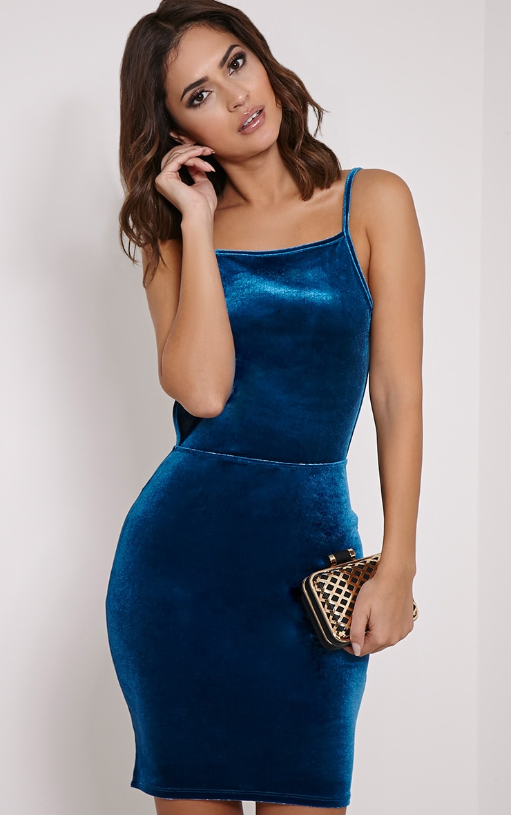 Zindy Turquoise Velvet Backless Dress 4