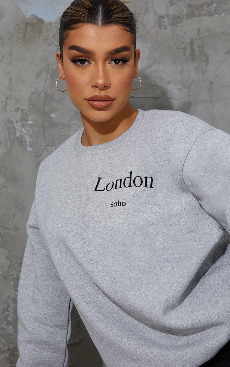 Grey London Slogan Embroidered Sweatshirt 4