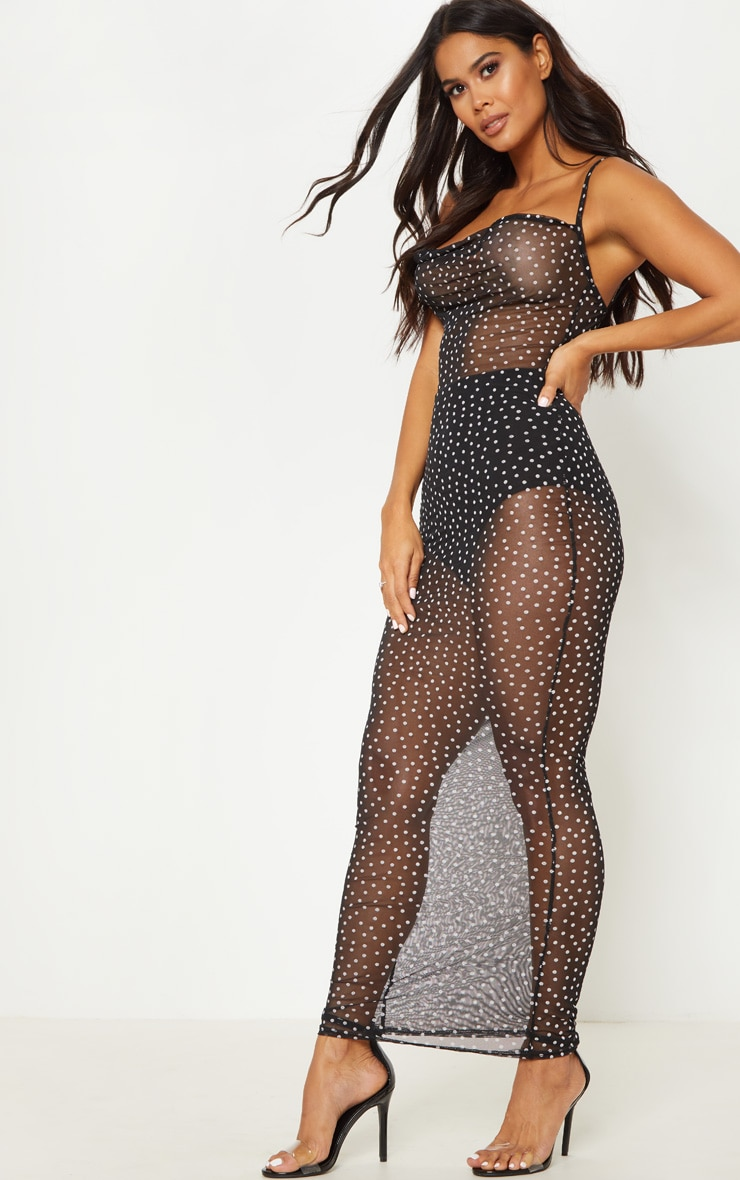 Black Mesh Polka Dot Maxi Dress