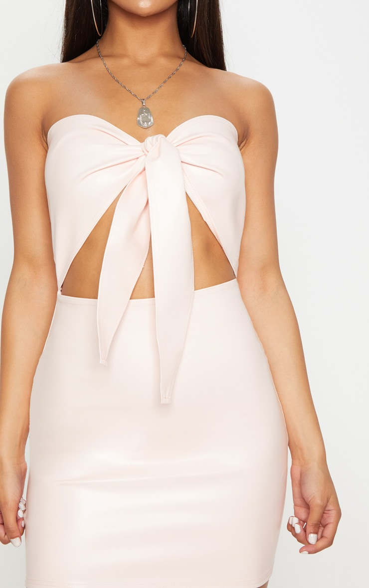 Nude PU Tie Front Cut Out Bodycon Dress 5