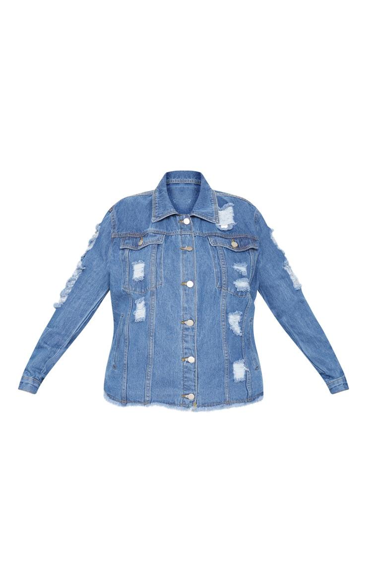 Plus Light Wash Distress Oversized Denim Jacket 3
