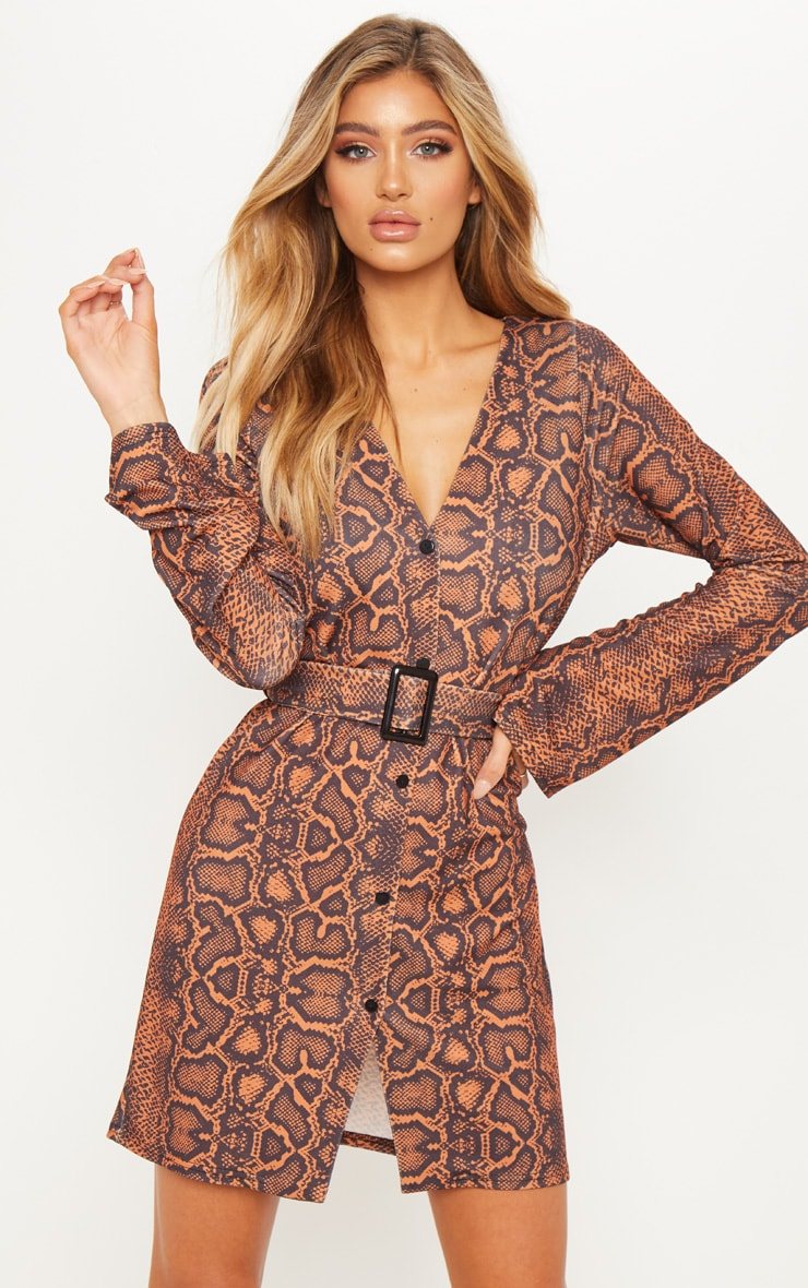 Snake V Neck Button Shift Dress 1