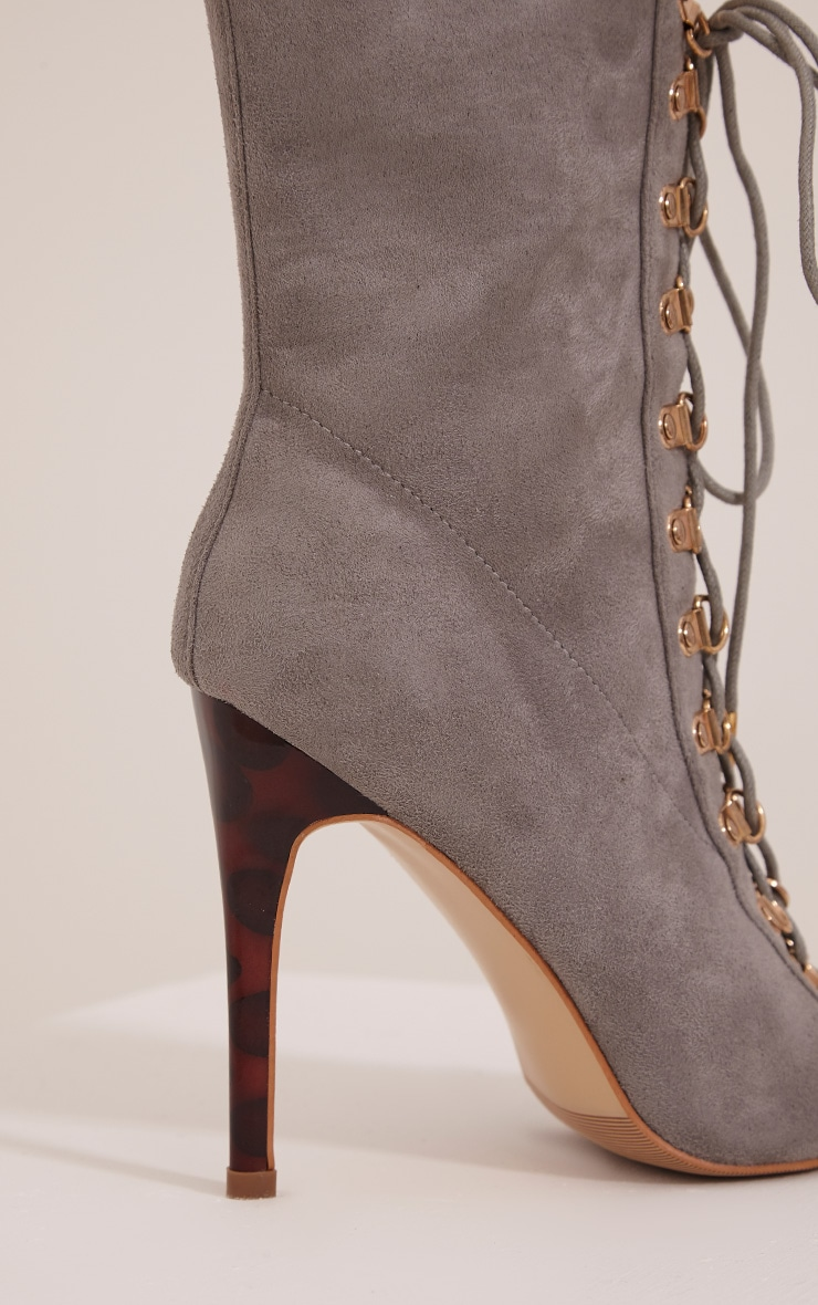 Elina Grey Lace Up Open Toe Ankle Boots 5
