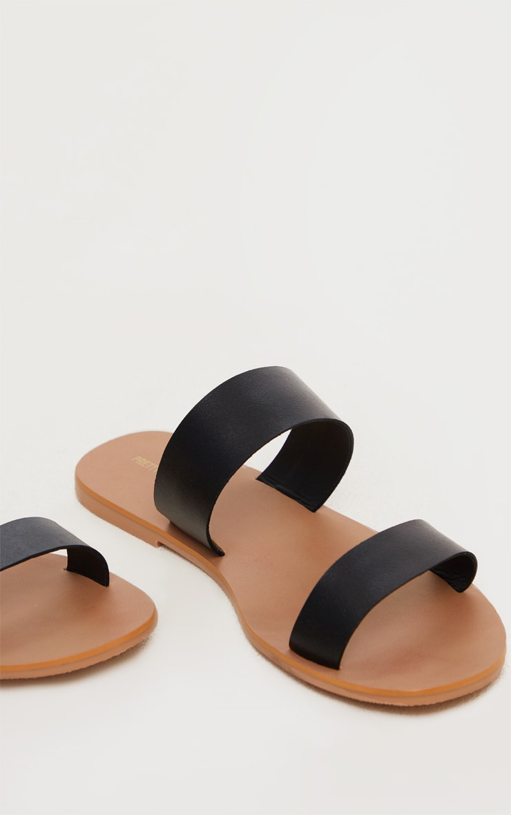 Black Wide Fit Leather Twin Strap Sandal 4
