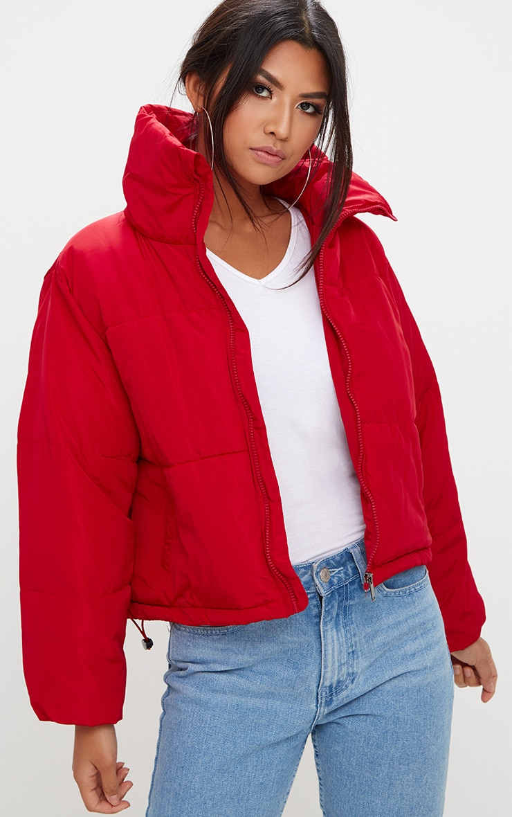 Red Cropped Puffer Jacket 1