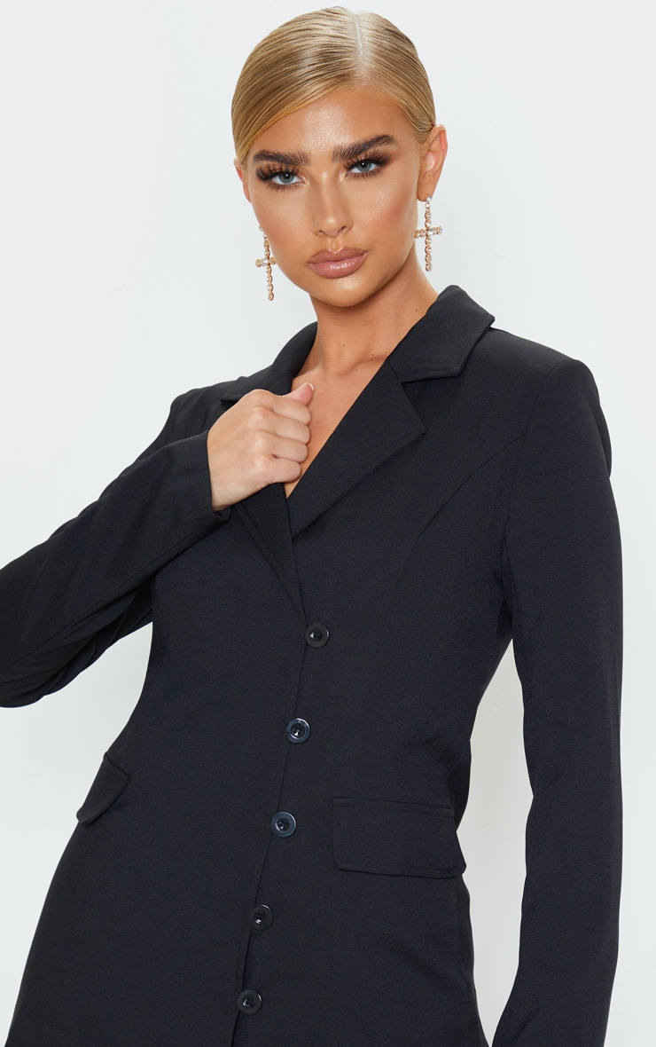 Black Button Detail Fitted Blazer 5