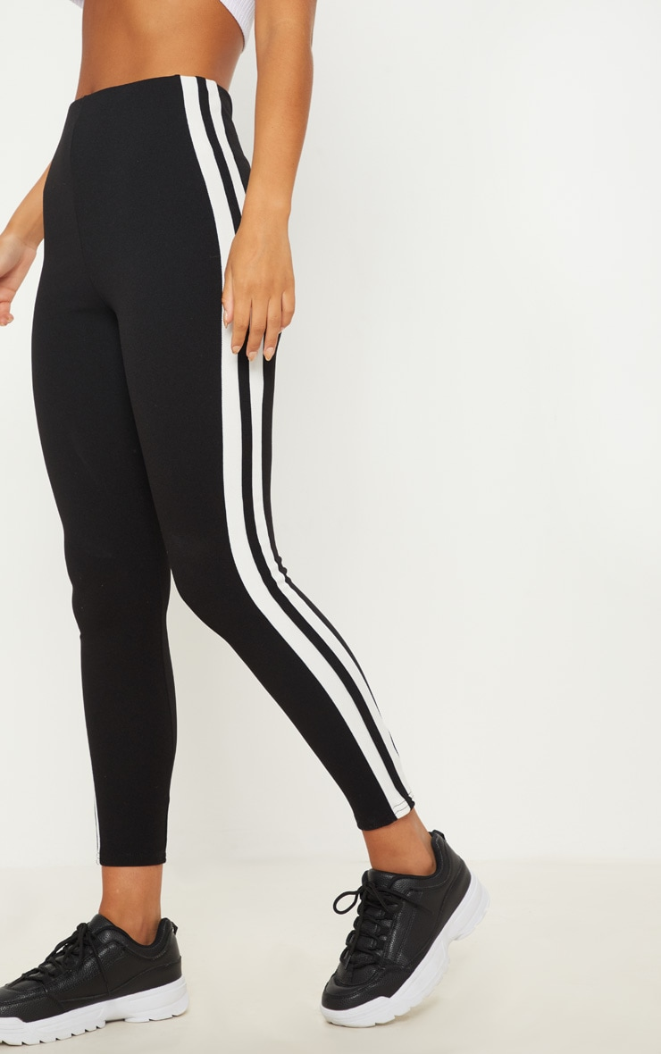 Black High Waisted Side Stripe Leggings 2