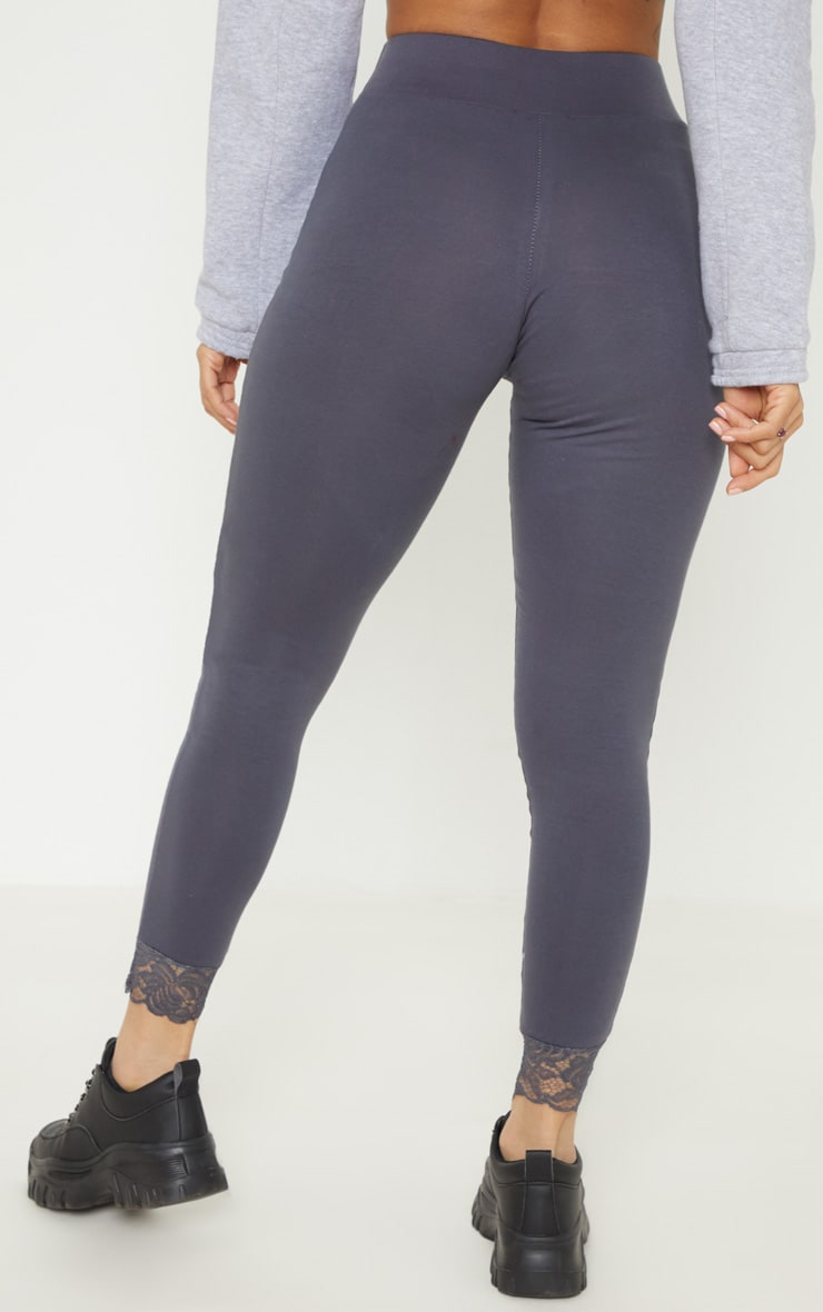 Grey Lace Trim Cotton Elastane Legging 4