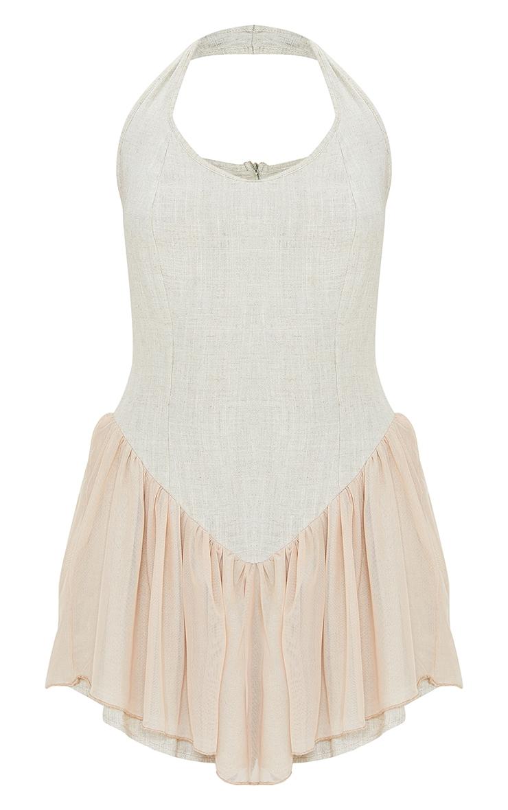 Stone Linen Look Bodice Mesh Skirt Halterneck Shift Dress 5