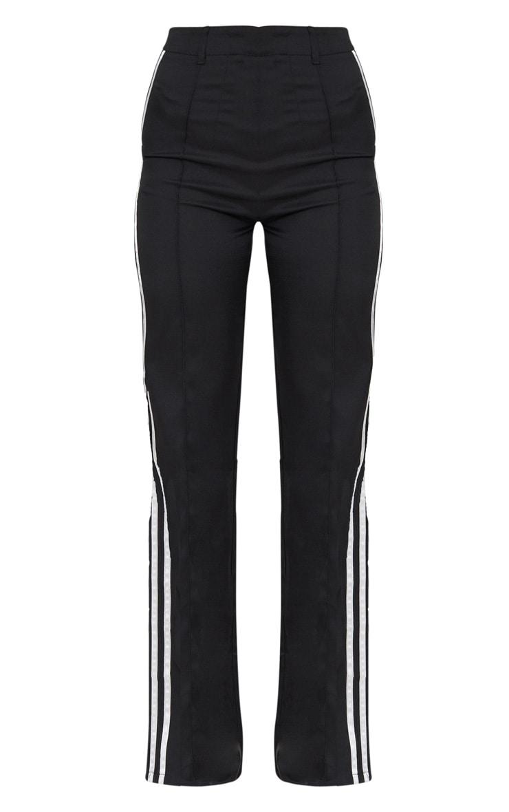 Pantalon noir taille haute à coupe droite et bandes latérales 3