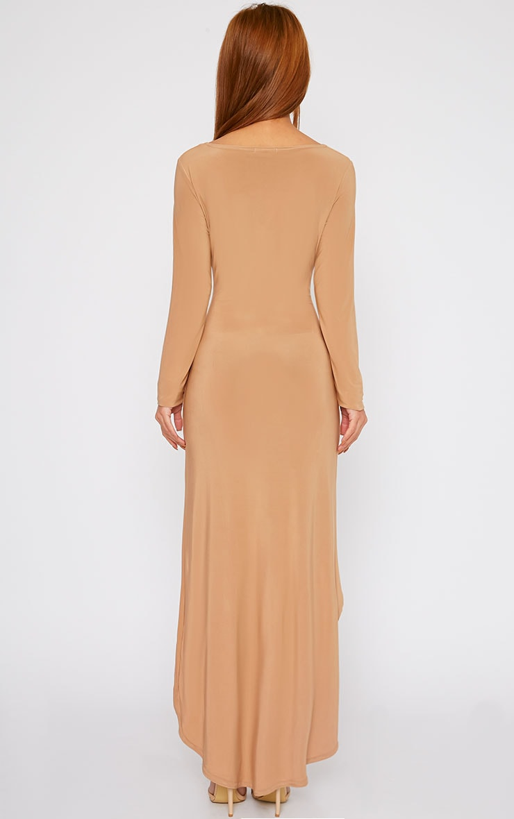 Fearne Camel Slinky Dip Hem Dress 2