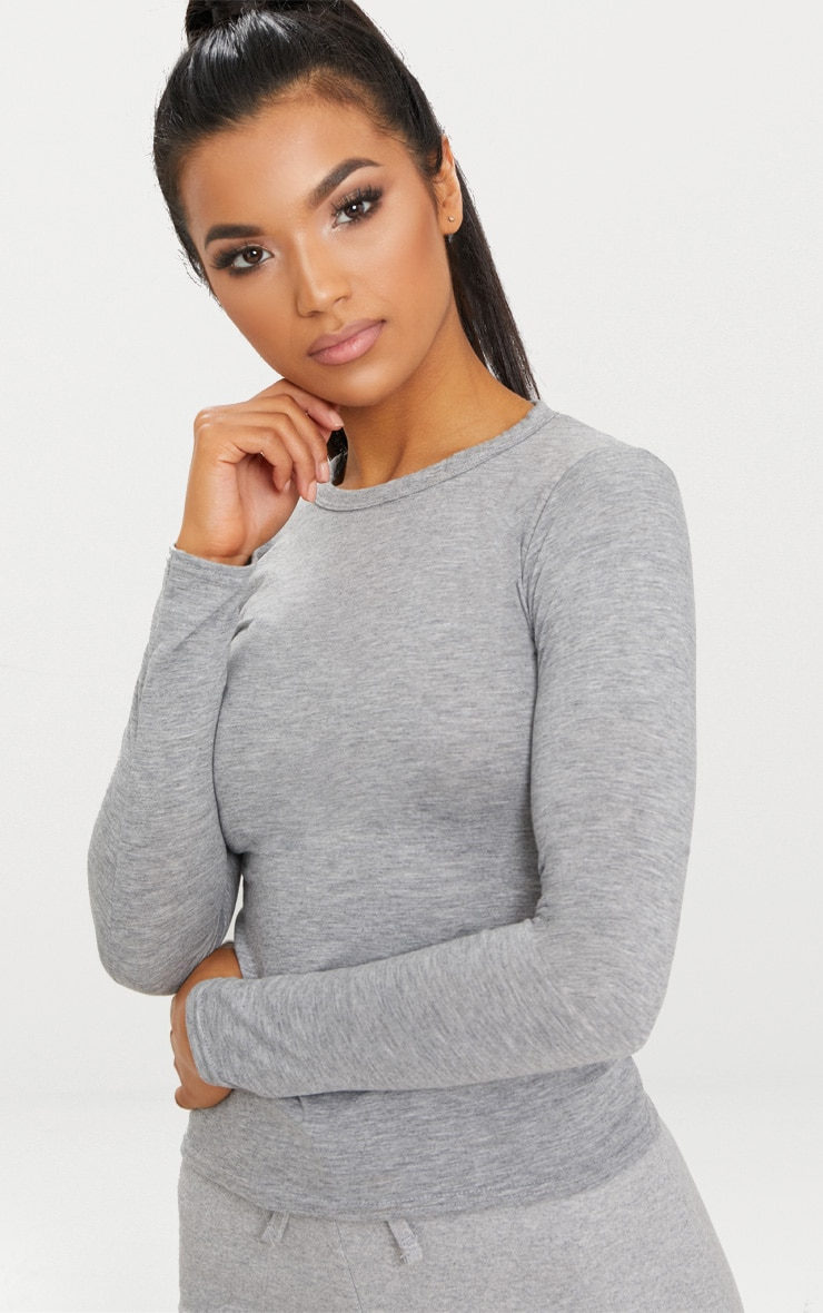 Basic Grey Marl Long Sleeve Fitted T Shirt  5