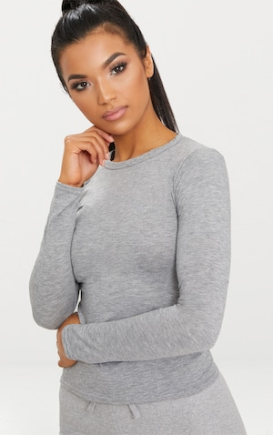 Basic Grey Marl Long Sleeve Fitted T Shirt  image 5