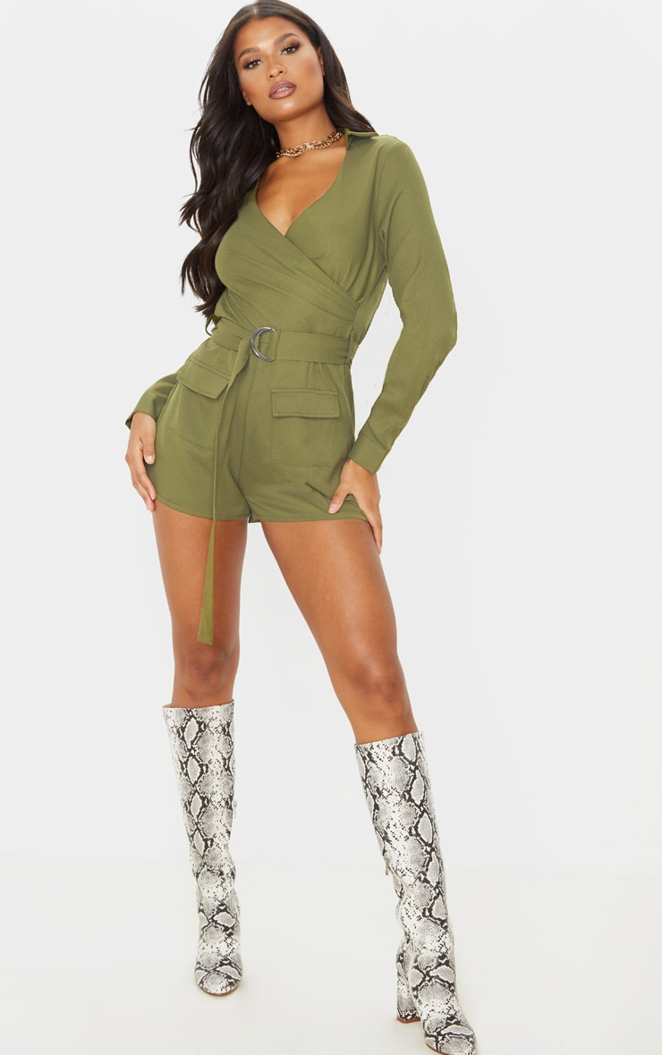 khaki-wrap-utility-belted-playsuit by prettylittlething