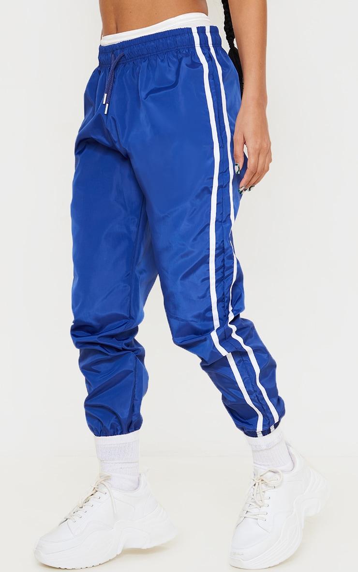 Cobalt Blue Contrast Side Stripe Shell Joggers 2