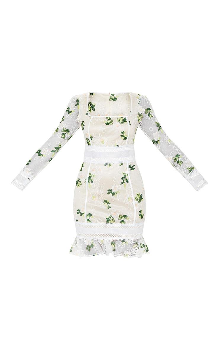 White Floral Print Lace Flute Hem Bodycon Dress 3