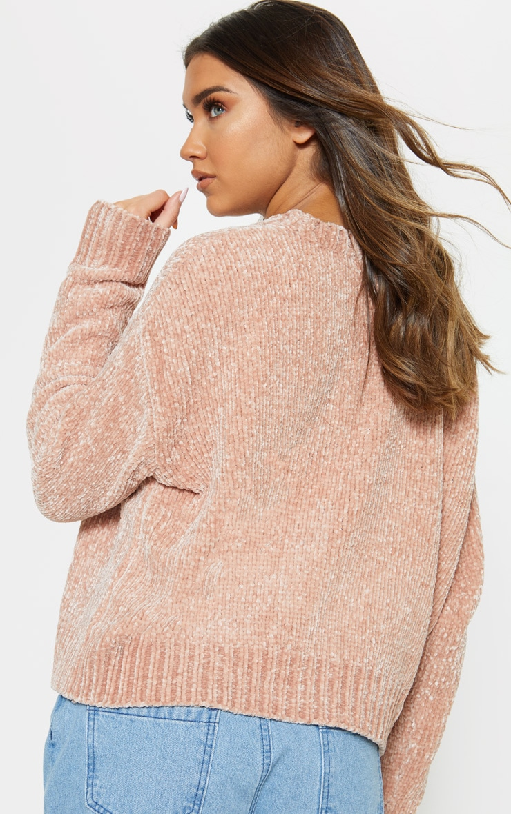 Rose Gold Chenille Knitted Cardigan 2