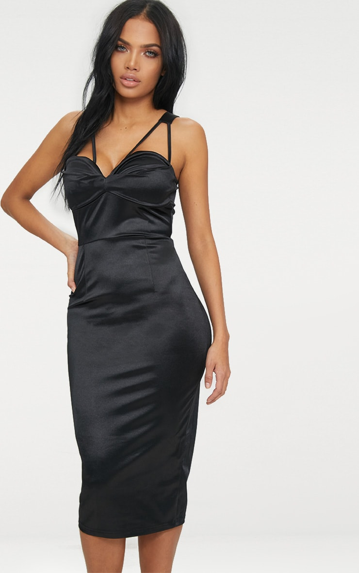Black Strappy Folded Detail Midi Dress  1