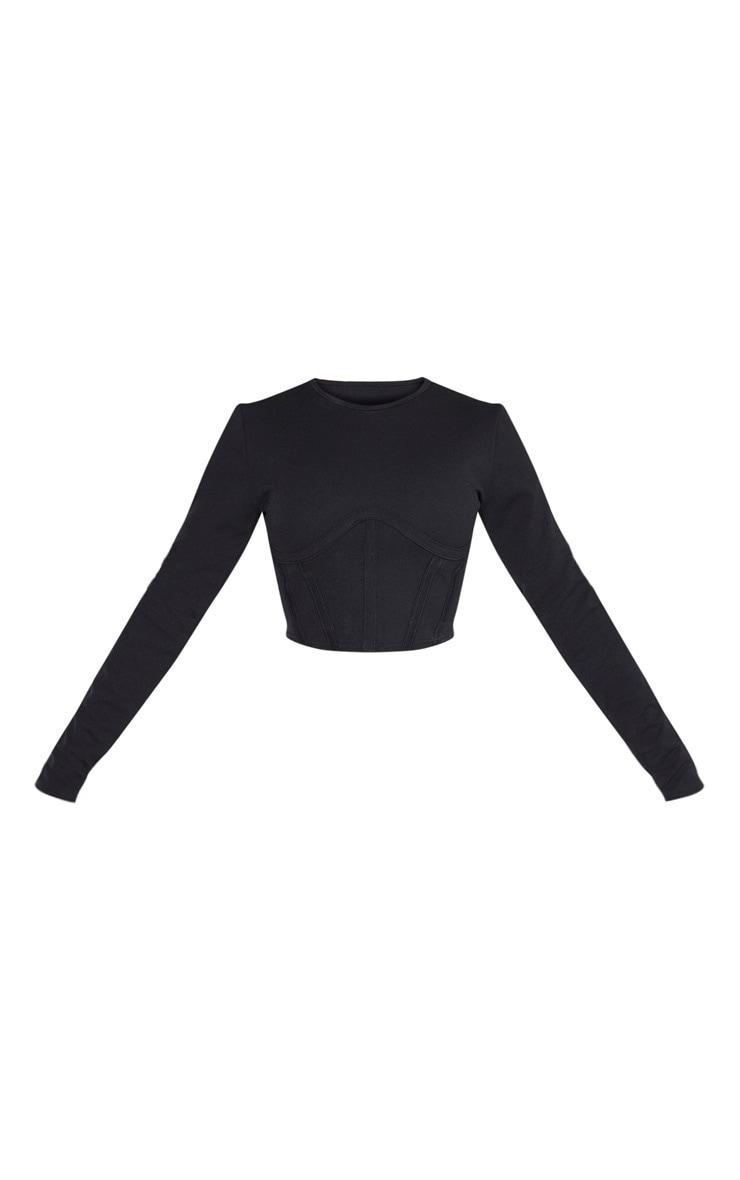 Crop top en crêpe noir à détail buste corset 3