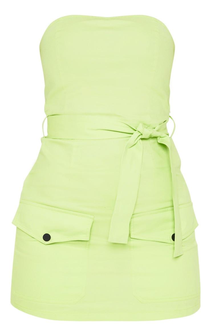 Robe bandeau moulante vert citron style cargo à poches frontales 3