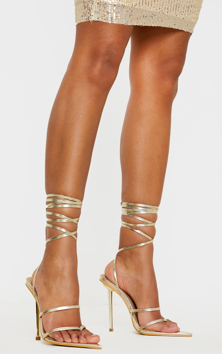 Gold Toe Loop Metal Heel Sandal 1