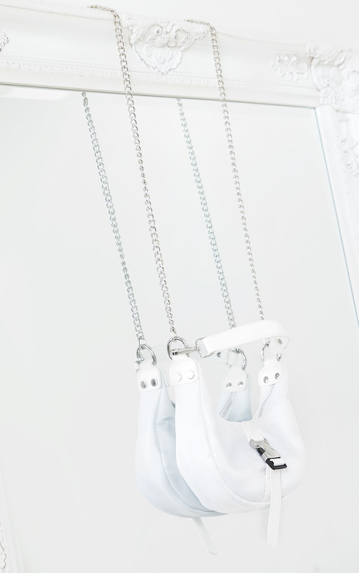 White Nylon Rounded Front Silver Buckle Shoulder Bag 2