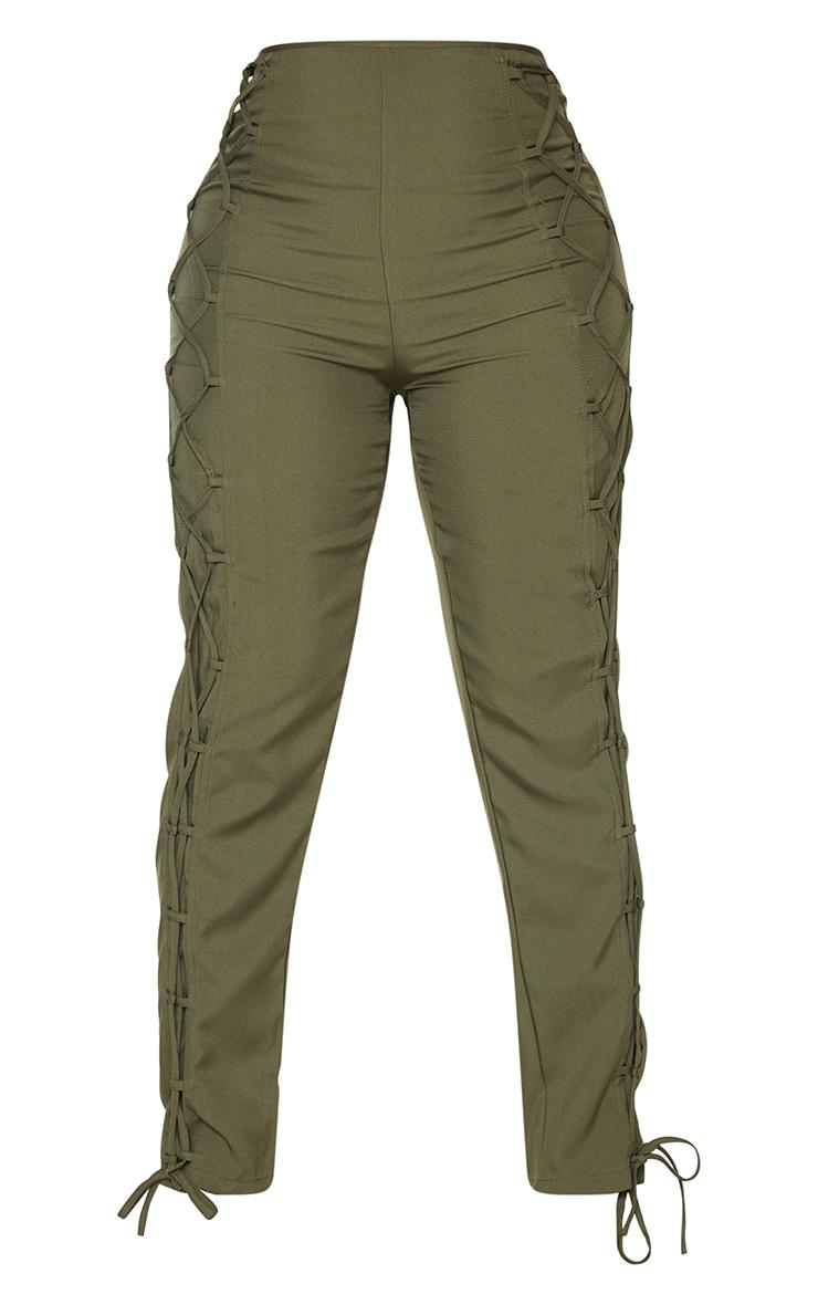 Shape Khaki Lace Up Detail Skinny Pants 5