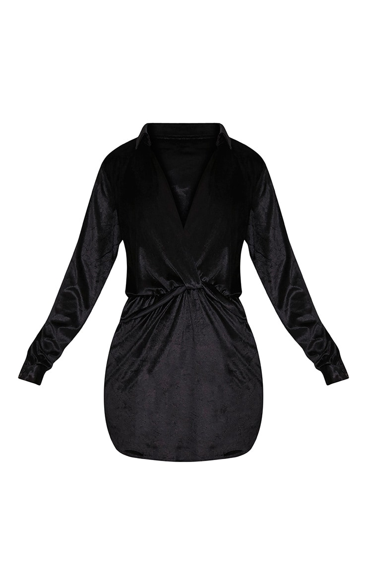 Kaliah Black Velvet Twist Front Shift Dress 3