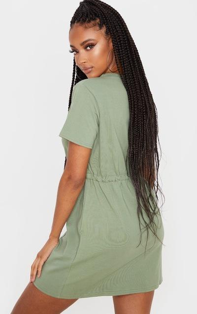 Olive Drawstring Tie Waist T Shirt Dress