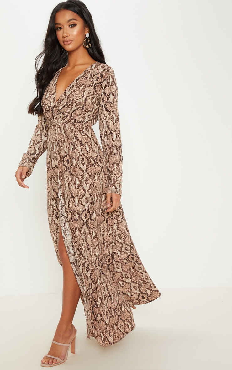 b3939089479 Petite Taupe Snake Print Twist Front Maxi Dress image 1