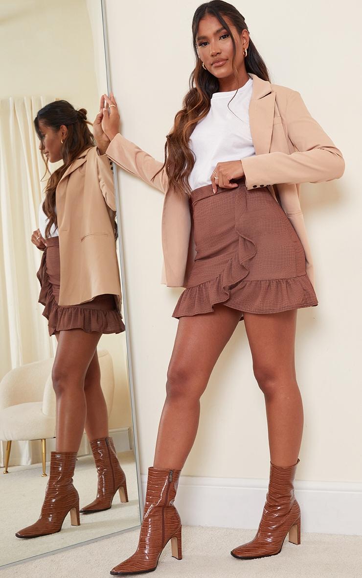 Chocolate Croc Frill Hem Wrap Mini Skirt 1