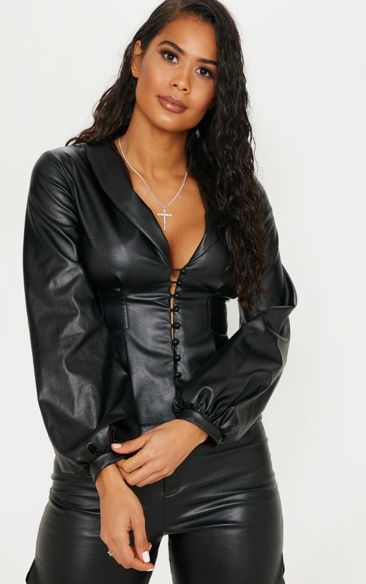 Black PU Button Shirt