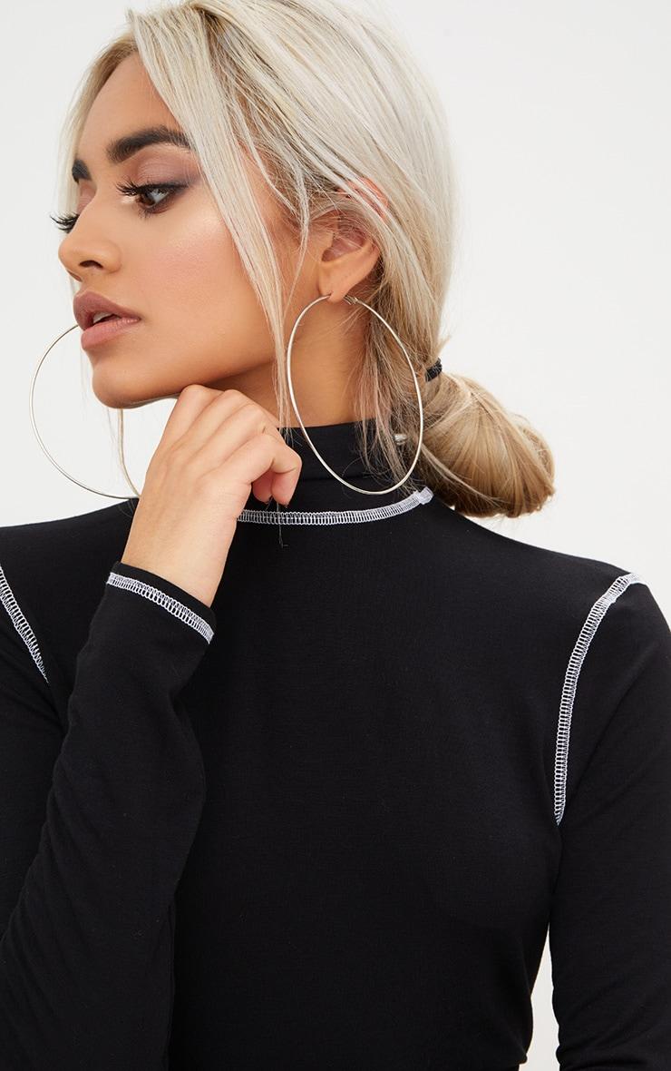 Black Contrast Stitching High Neck Thong Bodysuit  6