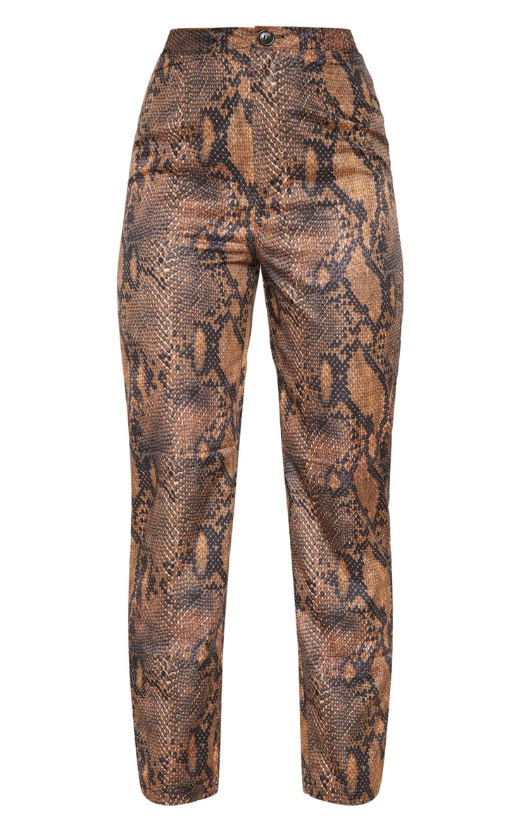 Brown Snake Print Straight Leg Pants 3