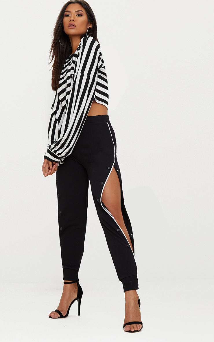 Black Gather Sleeve Stripe Crop Top  4