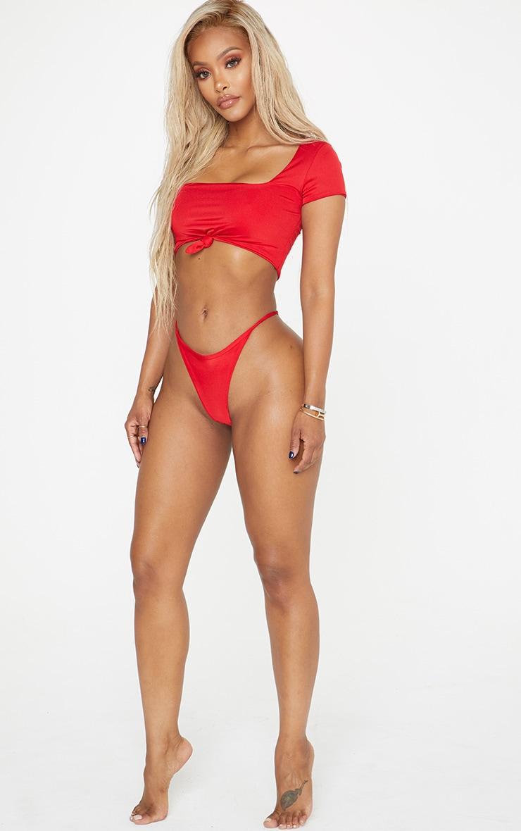 Shape Red Strappy Thong Bikini Bottom 6