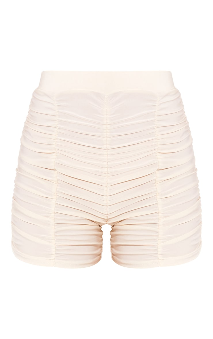 Cream Slinky Ruched Detail Cycle Shorts 6