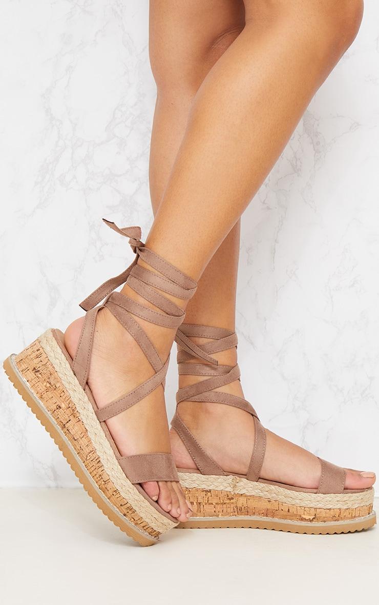 Mocha Espadrille Flatform Sandal