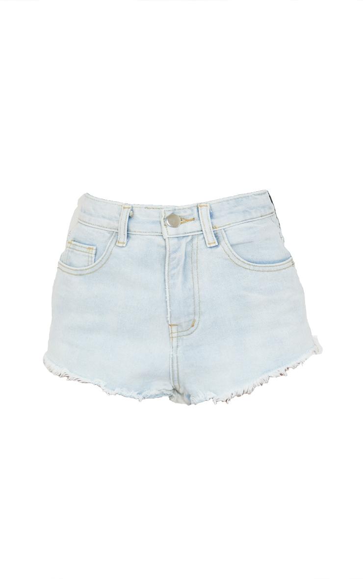 Petite Bleach Wash Frayed Hem Denim Shorts 6