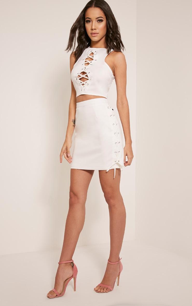 Zoya White Lace Up Side Mini Skirt 6