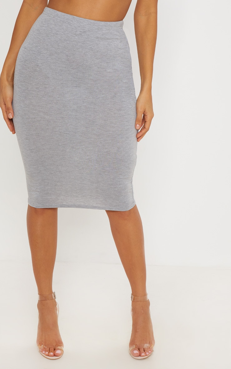 Grey Maroon and Taupe Basic Jersey Midi Skirt 3 Pack 2