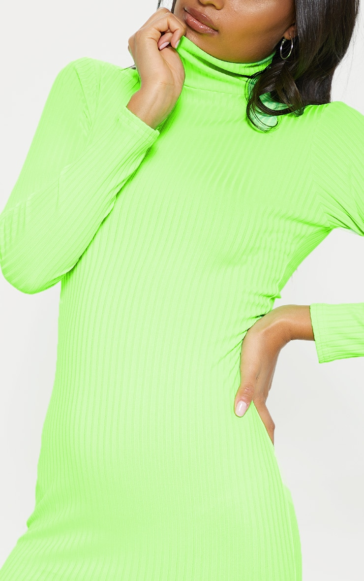 Neon Lime Ribbed Long Sleeve High Neck Bodycon Dress 5